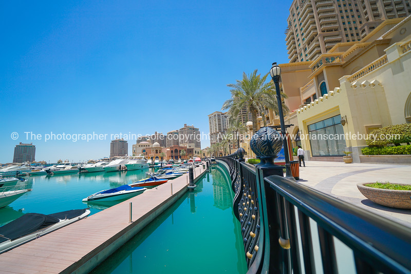 New up-market residential area known as Qatar-Pearl with its stylish residential buildings fronting promenade and marina.