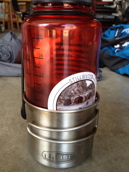 32oz Nalgene nested in stainless cup for storage