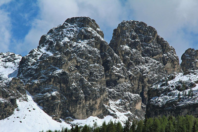 Rugged mountains on the road (SP 49) to Lake Misurina, Italy.