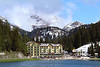 The Grand Hotel Misurina at Lake Misurina, Italy. The 1956 Olympic speed skating and other skating events were held right on the surface of this lake-the last time a natural body of water was used for that purpose. The Olympic host city of Cortina d'Empezzo, Italy is only about 10 miles away to the west, and popular hiking trails connect this lake to Cortina.