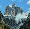 The Three Peaks of Lavaredo, one of the more notable landmarks in the Dolomites. They rise approx. 3500 feet above the surrounding land. There are a lot of vertical walls and incredibly rugged surfaces in the Dolomites and Tyrolean Mountains.