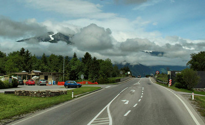 Austrian roads were narrow but well kept. This is a major traffic corridor, equivalent to a U.S. Highway.