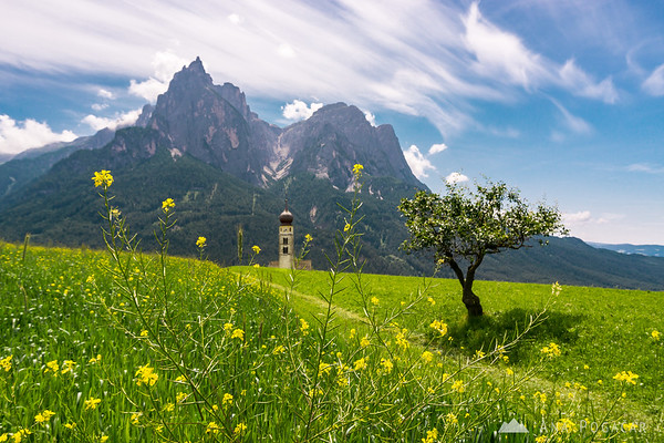 Church in Castelrotto with Mt. Sciliar in the background