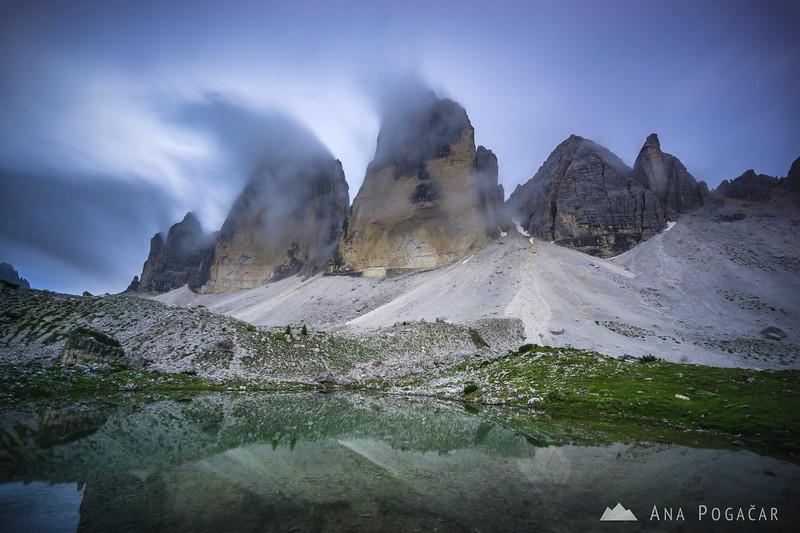 Mists chasing around Tre Cime di Lavaredo
