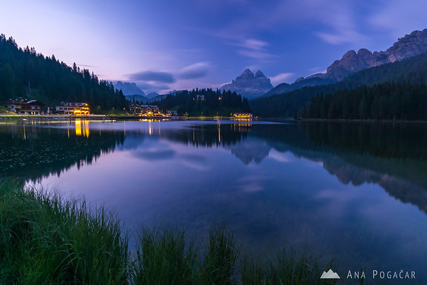 Lago di Misurina and Tre Cime at dusk
