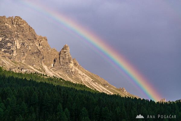 Rainbow above the mountains around Lago di Misurina