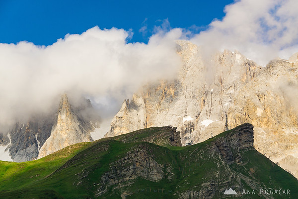 Pale di San Martino in clouds as seen from Passo Rolle