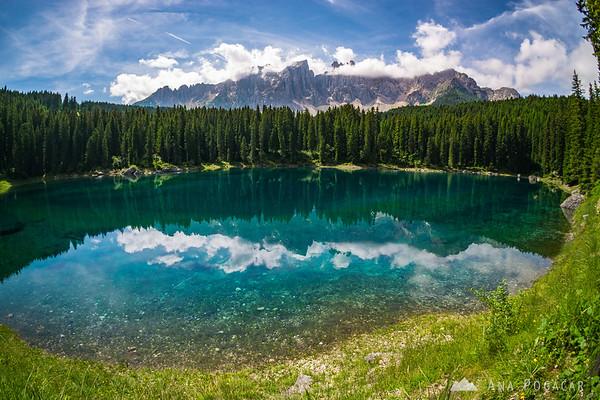Lago di Carezza on a sunny summer day