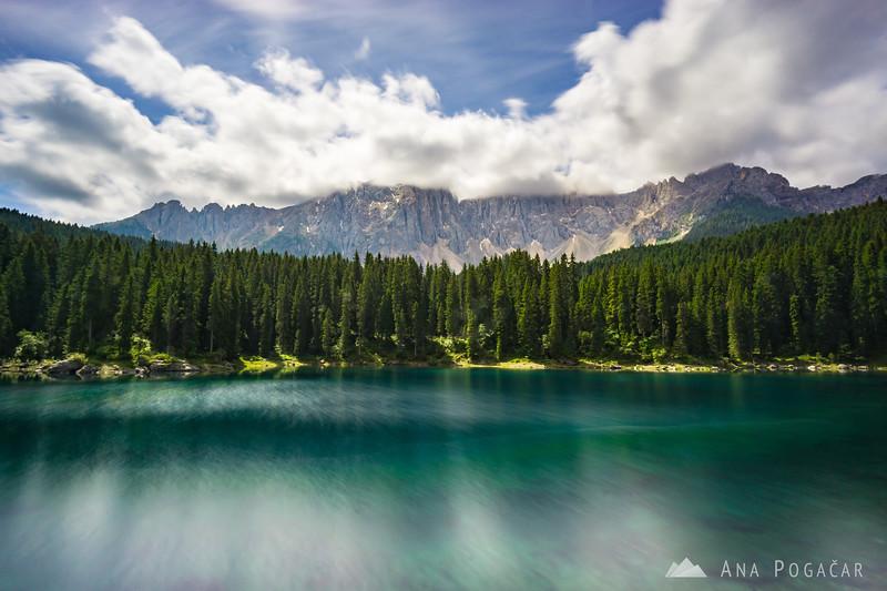 Lago di Carezza on a sunny summer morning