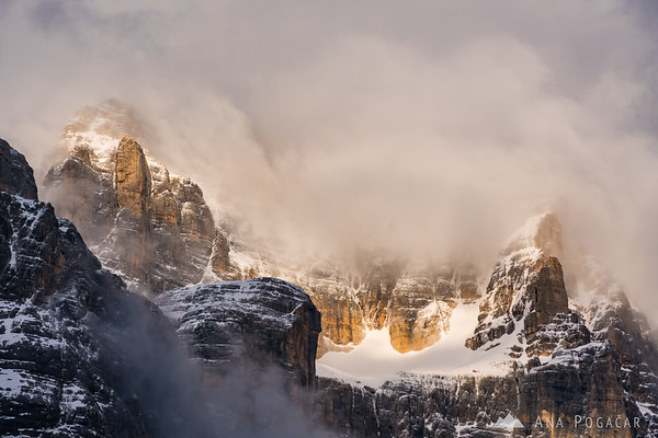Dramatic sunset in the mountains above Cortina d'Ampezzo