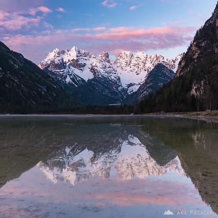 Monte Cristallo reflected in Lago di Landro at sunrise