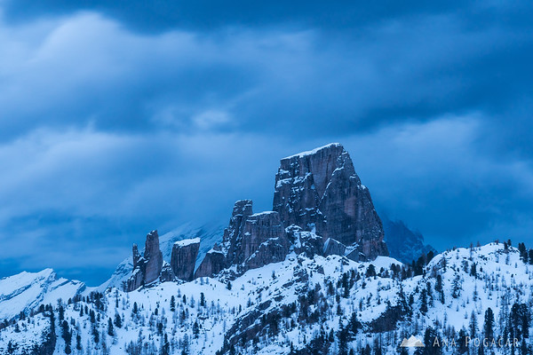 Cinque Torri from Passo Falzarego on a cold, stormy morning