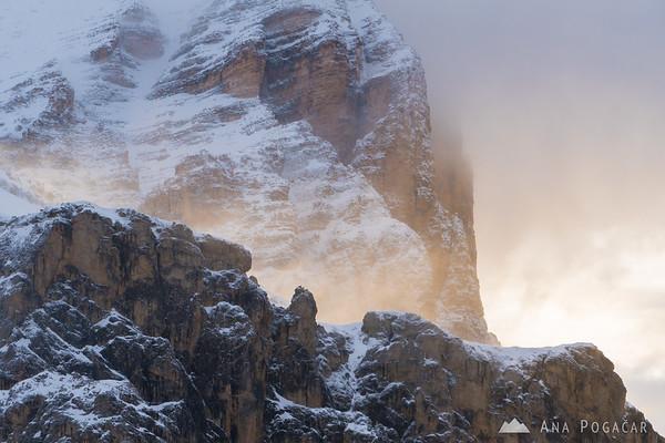 First sunrays hitting the rockface of Mt. Tofana di Rozes