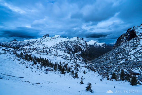 Cold and stormy dawn at Passo Falzarego