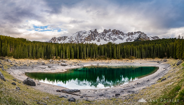 Stitched panorama of Lake Carezza