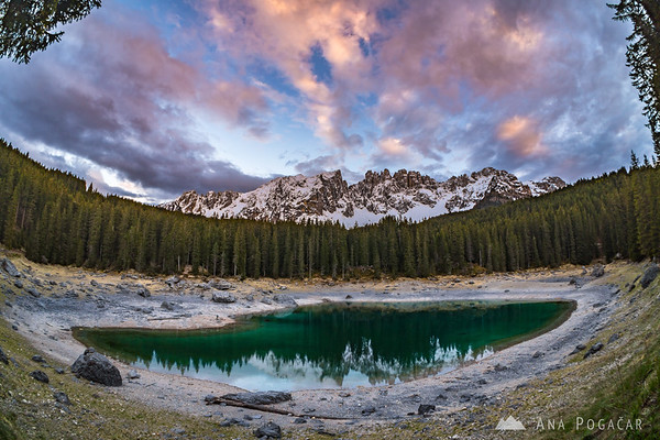 Lago di Carezza at sunset