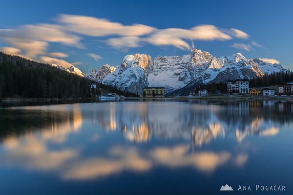 Mt. Sorapiss reflected in Lago di Misurina on a sunny late afternoon
