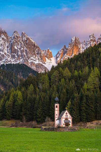 San Giovanni church with the Odle range in the background at sunset