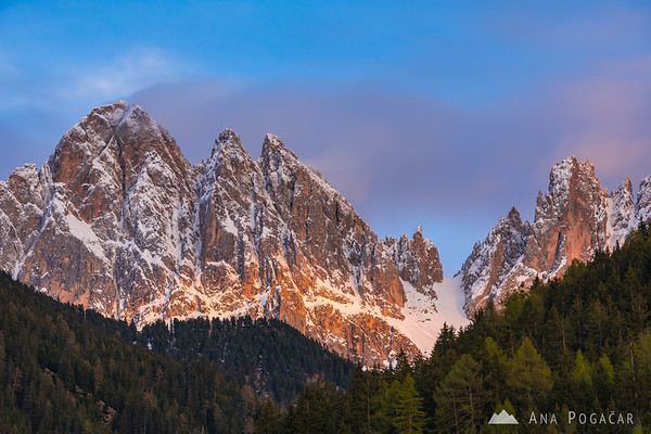 The Odle range in late afternoon light