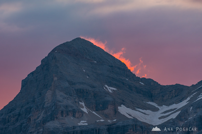 Crazy sunrise colors around Tofana as seen from Rifugio Lagazuoi