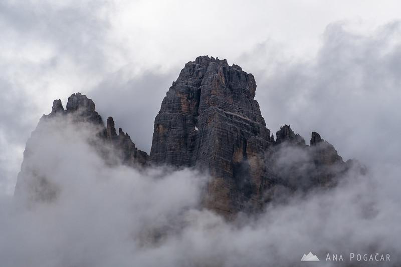 Tre Cime in clouds