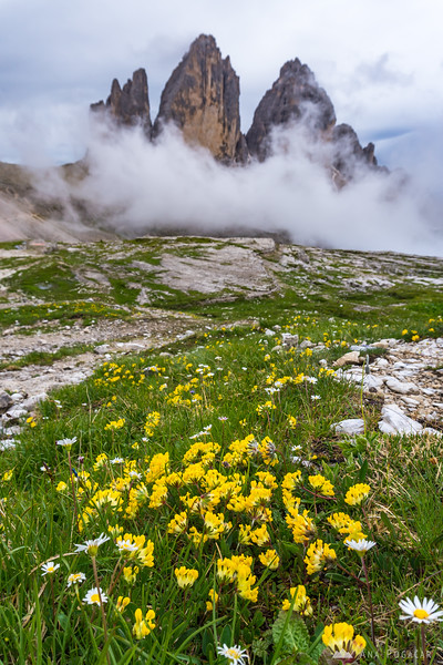 Tre Cime on a cloudy summer afternoon after rain