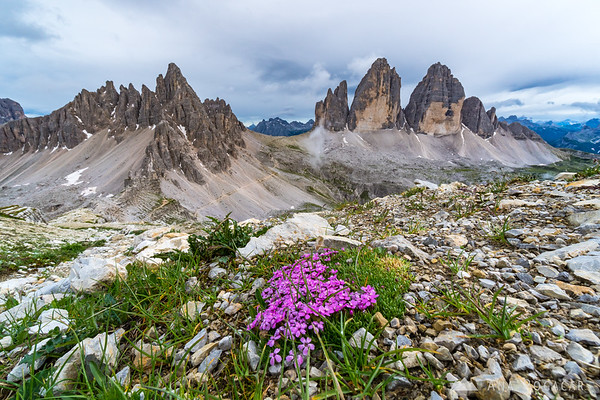 Tre Cime on a cloudy afternoon after rain
