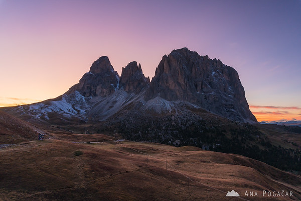 Sasso Lungo and Sasso Piatto from Passo Sella after sunset