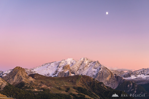 Marmolada from Passo Sella after sunset