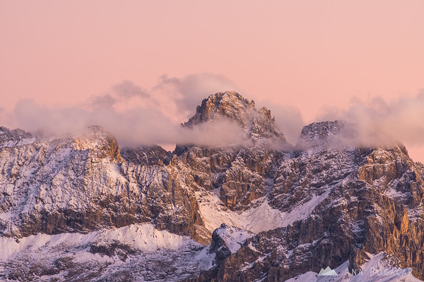 Cima Uomo from Passo Sella after sunset