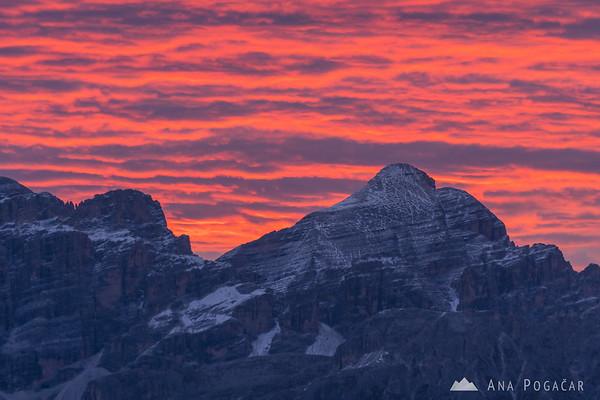 Pink sunrise from Passo Gardena