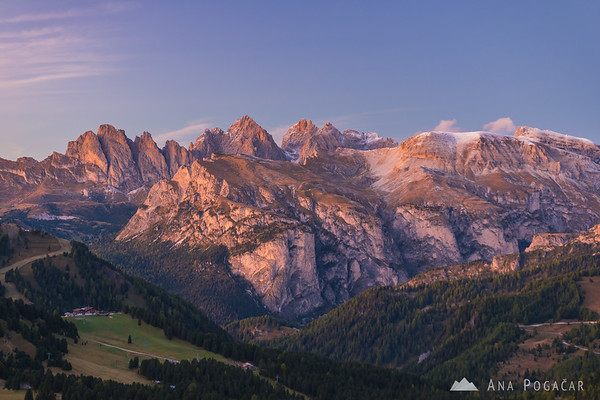 Looking north from Passo Sella, toward the Odle Range, after sunset