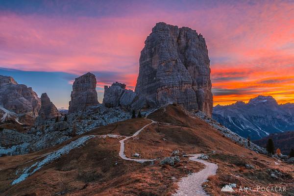 Cinque Torri at sunrise
