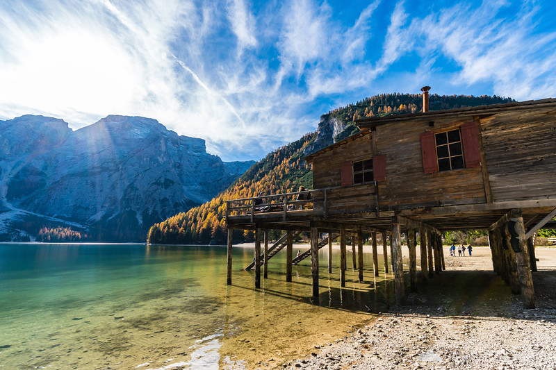 Lago di Braies on a sunny fall afternoon