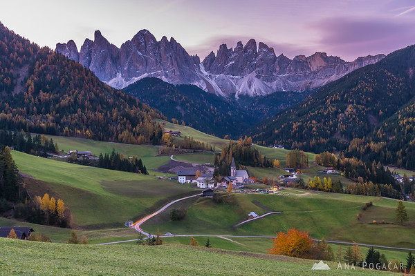 Santa Maddalena and the Odle range at dawn
