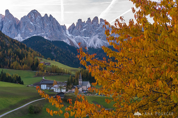 Santa Maddalena and the Odle range in the morning