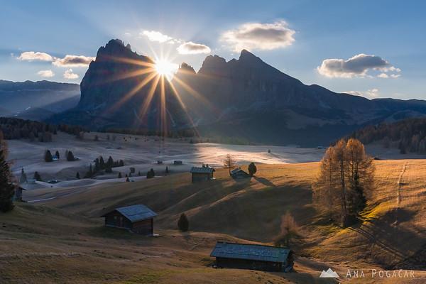 Alpe di Siusi on a sunny fall morning
