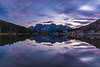 Mt. Sorapiss reflected in Lago di Misurina at sunset