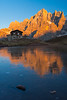 Baita Segantini and Pale di San Martino at sunset