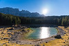 Lago di Carezza on a sunny fall afternoon