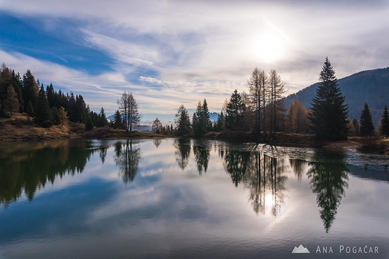 Around Lago di Pozze at Passo di San Pellegrino