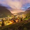 Twilight in Canazei, Dolomites, Italy