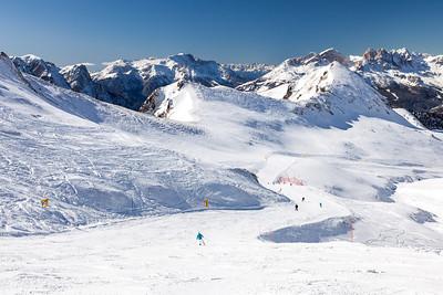 Skiing in Val di Fassa, Dolomites, Italy, 2012