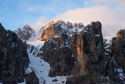Peak of the Morning on the Sella Mountain, northern Italy.  The Dolomites are spectacular.
