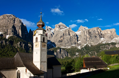 Corvara Church with the Sella Mountains in the background