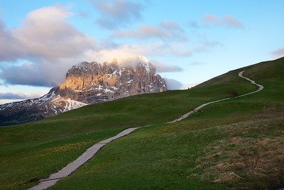 High Alpine Path wanders off into the Dolomites mountains