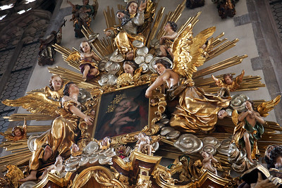 Bolzano Religious Art with Many and Jesus surrounded by golden angels.