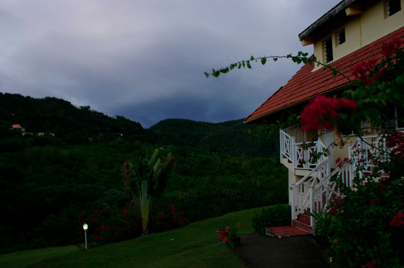 A view of some of the front of the building, showing access to the upper floors and the hills surrounding us on the island side.