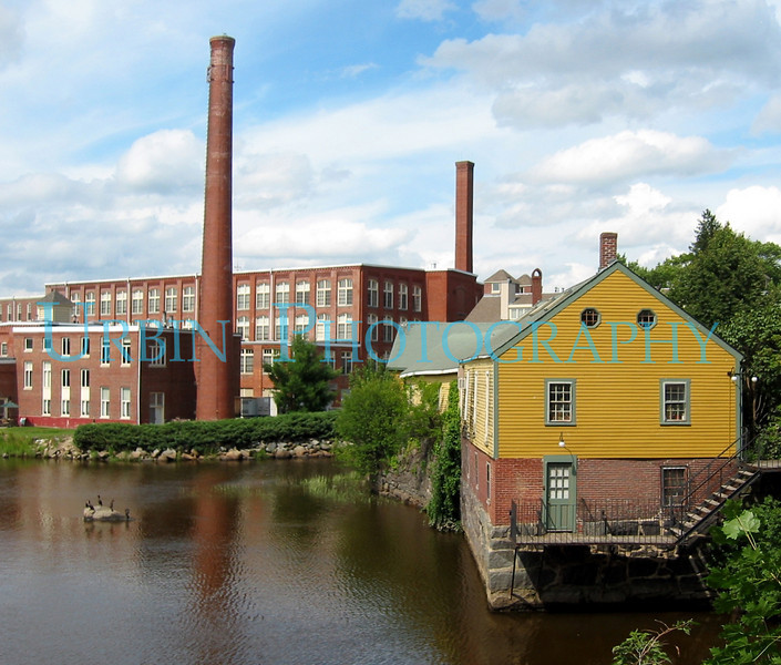 Waterside buildings in Exeter, New Hampshire.
