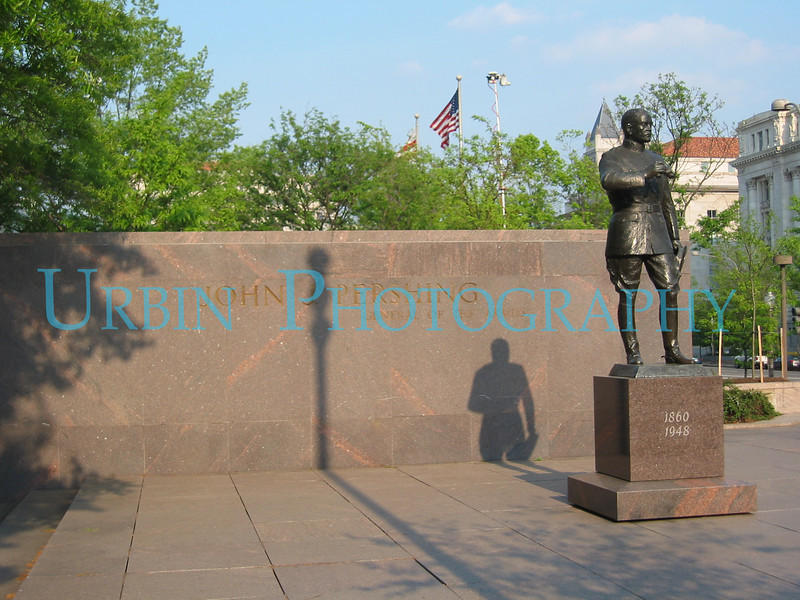 "A statue of General John ""Black Jack"" Pershing. Veteran of the Indian Wars, the Spanish American War and World War II. He also commanded a force to deal with the Mexican bandit  Pancho Villa. Under his command was a young Lt. George S. Patton, Jr."